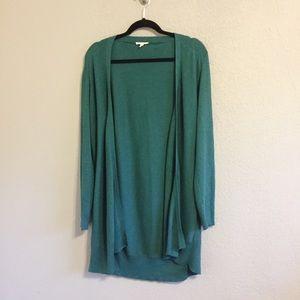 Eileen Fisher Long Green Open Front Cardigan